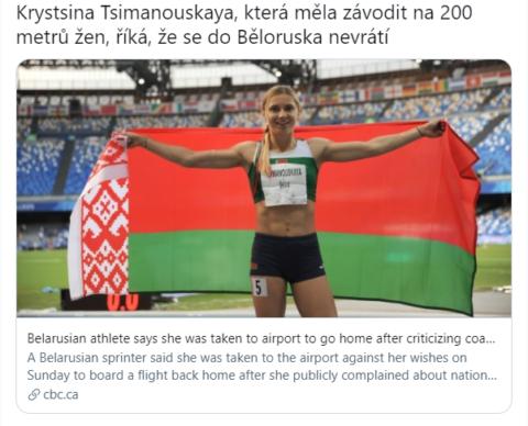 Běloruská běžkyně, Krystsina Tsimanouskaya se do Běloruska nevrátí