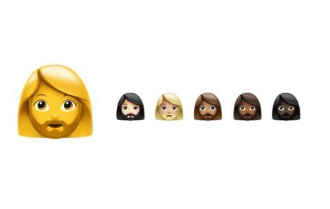 nové emoji / emodži, vousatá žena
