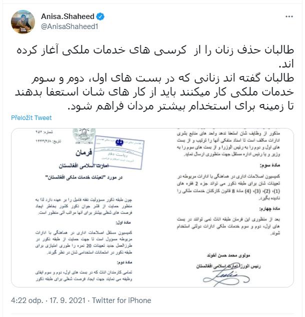 Anisa.Shaheed, Taliban začal vyhánět ženy z civilní služby.